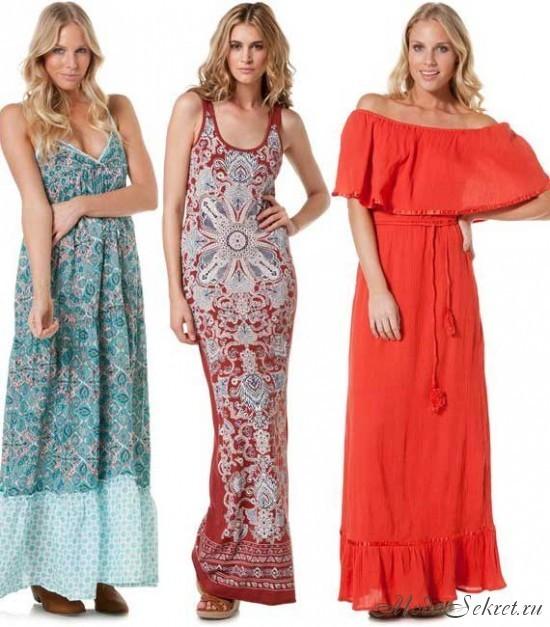 Фасоны платьев на лето длинные